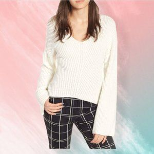 Leith Stitched shaped vneck knit sweater Ivory